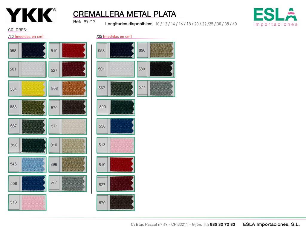 CREMALLERA METAL PLATA 99217 DE 30-35-CM