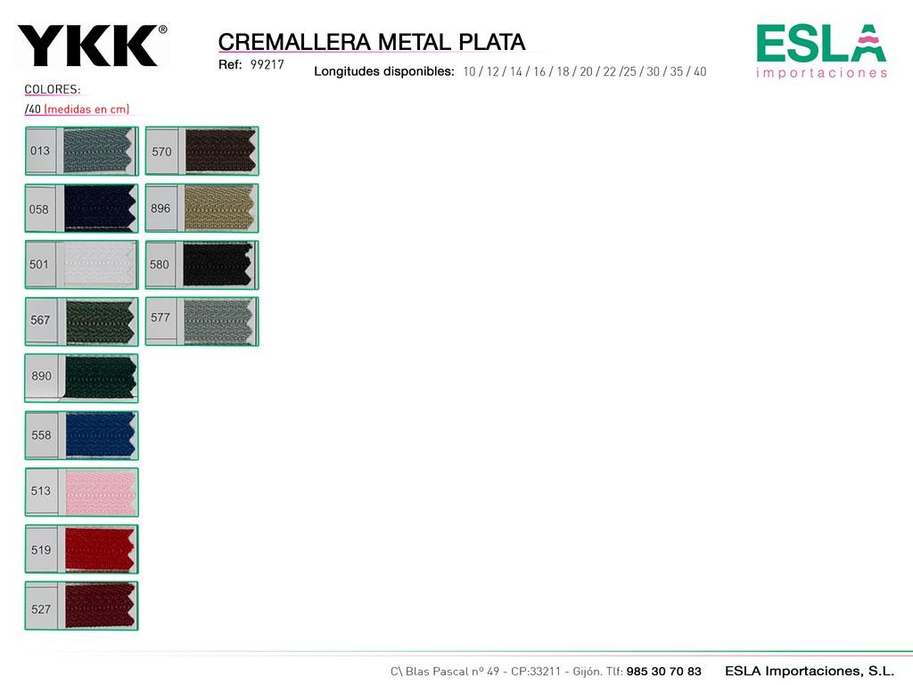 CREMALLERA METAL PLATA 99217 DE 40-CM