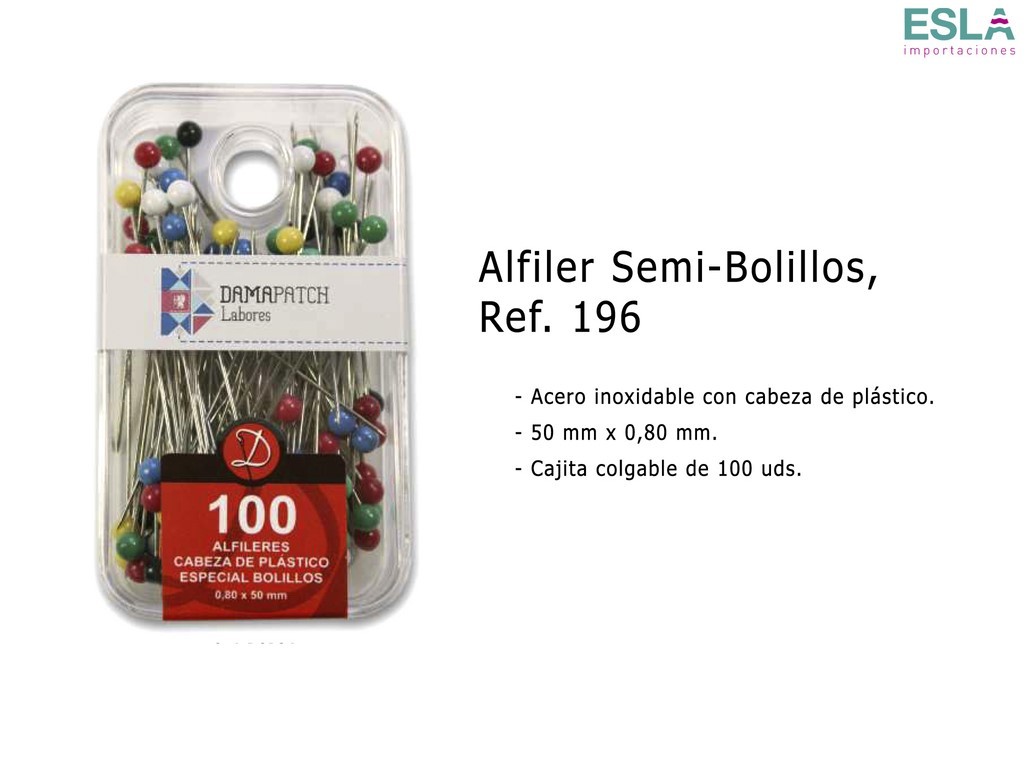 ALFILERES SEMI BOLILLOS 196