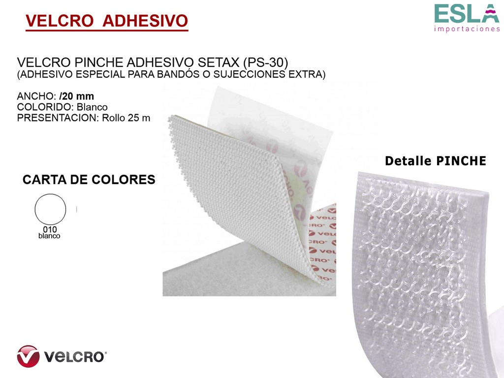 VELCRO ADHESIVO PINCHE SETAX PS-30