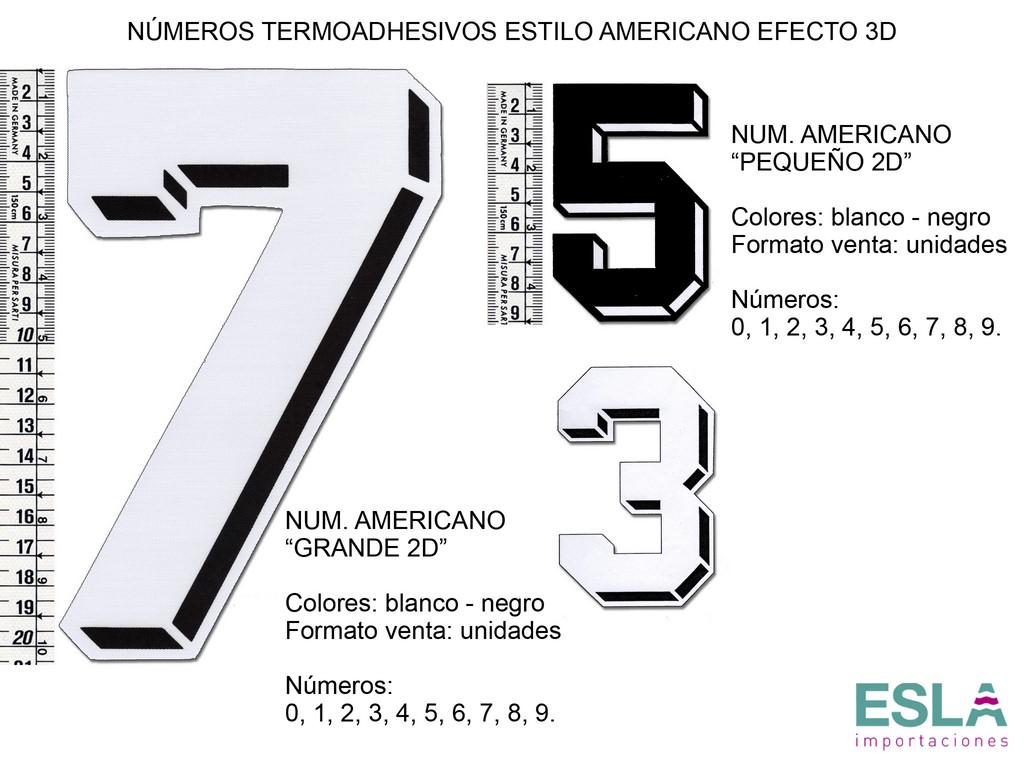 NÚMEROS ESTILO AMERICANO EFECTO 3D
