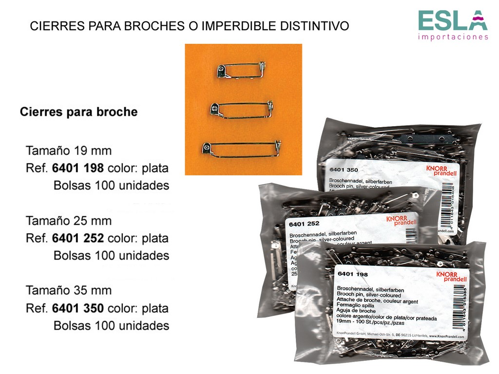Cierres broches imperdible distintivo 6401198 - 6401252 - 6401350