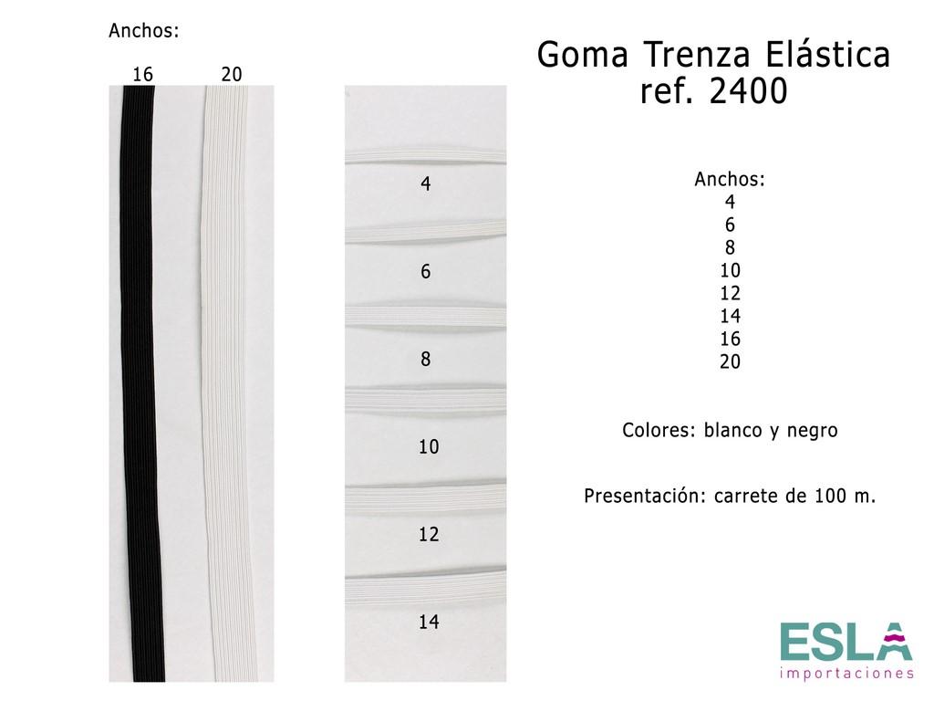 GOMA TRENZA ELASTICA 2400 BLANCO Y NEGRO
