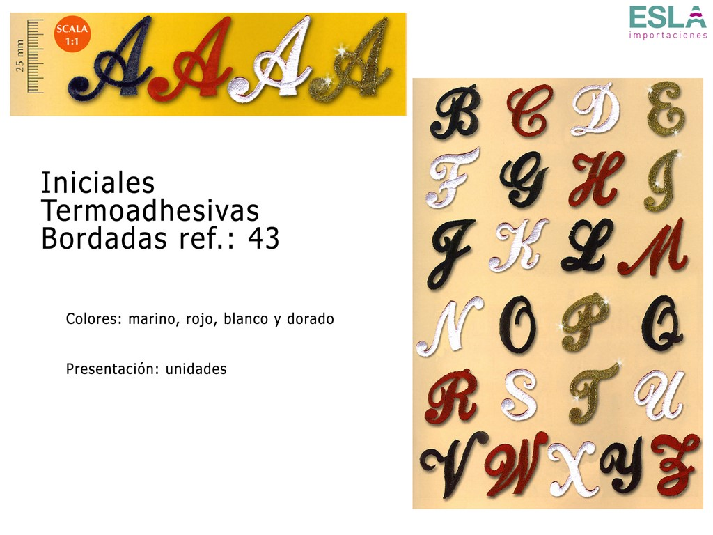 INICIALES TERMOADHESIVAS BORDADAS 43
