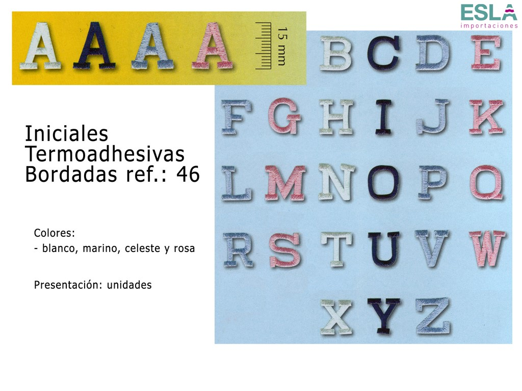 INICIALES TERMOADHESIVAS BORDADAS 46