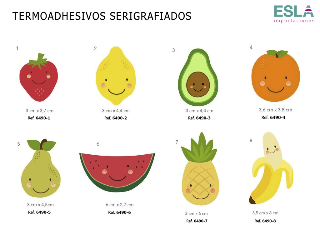 TERMOADHESIVOS SERIGRAFIADOS FRUTAS 6490