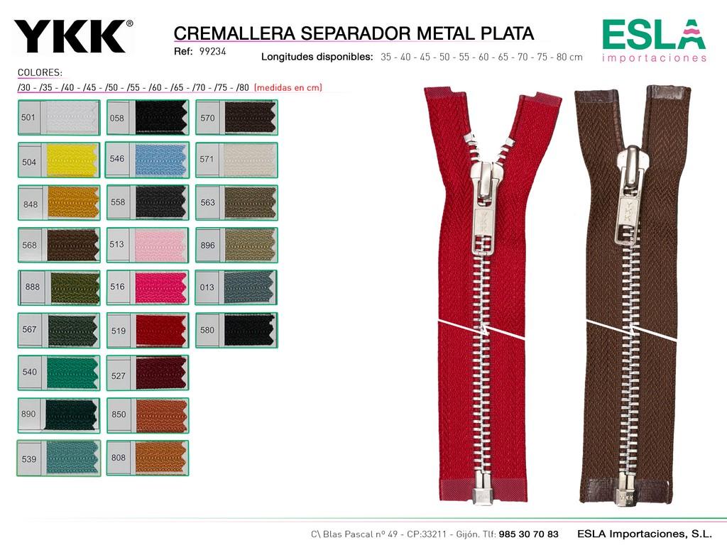 CREMALLERA METAL PLATA SEPARADOR 99234